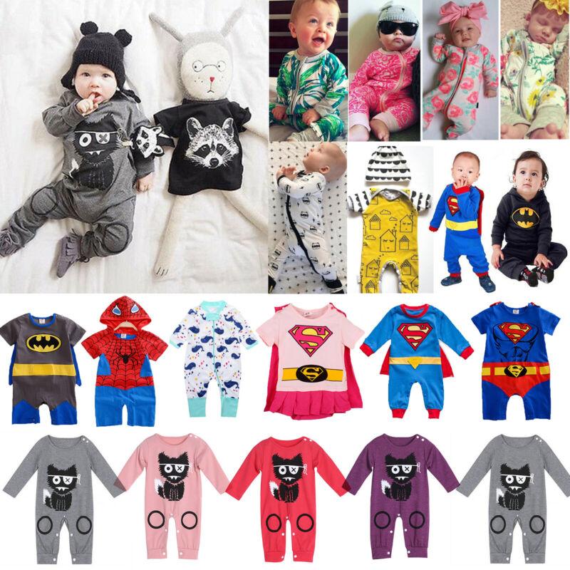 Baby Jungen Mädchen Strampler Body Langarm Overall Kinder Kleinkind Outfits Sets