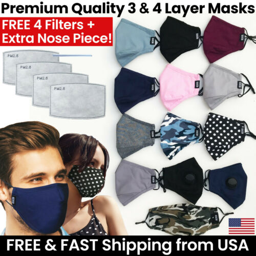Premium 3 or 4 Layer Face Mask + 4 Mask Filters - Reusable Washable Cotton Cloth