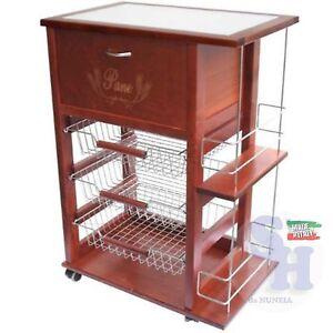 Carrello portafrutta legno massello con portabottiglie cassetti acciaio e ruote 1xcjpeu2 casa - Portafrutta in legno ...