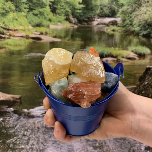 Bucket Full of Mixed Calcite Rough + FREE faceted gemstone - Pick Bucket Color