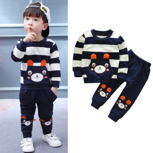 Kinder Baby Jungen Mädchen Kleidung Jogginganzug Sweat Shirt Top + Hosen Outfit