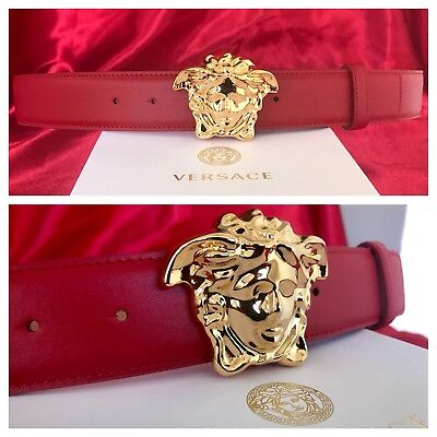 New Authentic Red Versace Belt w/ Gold Buckle 105 cm fits 34-38 waist