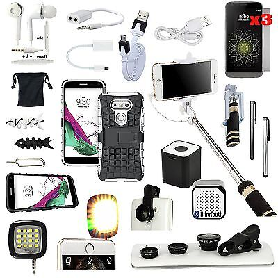 Case+Selfie Monopod+Wireless Speaker+Camera Lens Accessory Bundle For LG G5