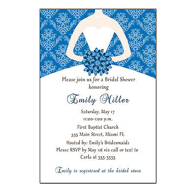 30 Damask Invitation Card Wedding Bridal Shower Blue Sweet 16 Personalized - Personalized Sweet 16 Invitations
