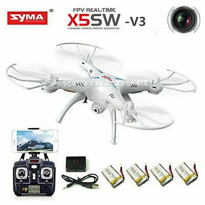 Syma X5SW-V3 2.4G 4CH RC Quadcopter Drone with HD WiFi Camera RTF +5 Batteries