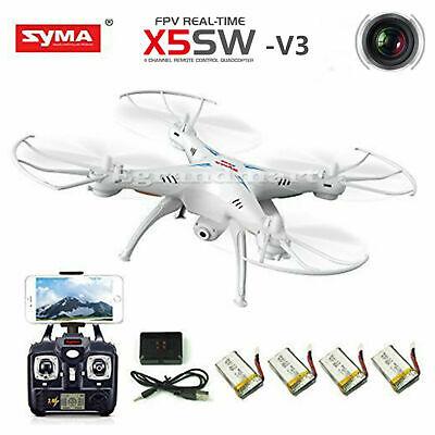 Syma X5SW-V3 2.4G 4CH RC Quadcopter Drone with HD WiFi Camera RTF +5 Batteries