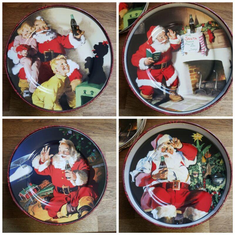 Coca Cola Santa Claus Christmas Plates Stoneware Sakura Set of 4 Vintage 90s