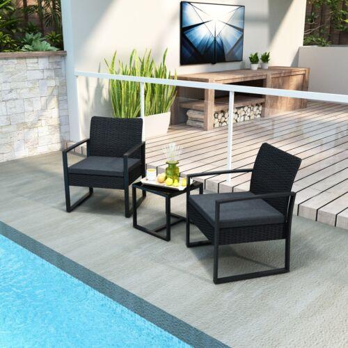 Garden Furniture - Garden Rattan Furniture Bistro Set 3PC Chair Table Patio Outdoor Wicker Black