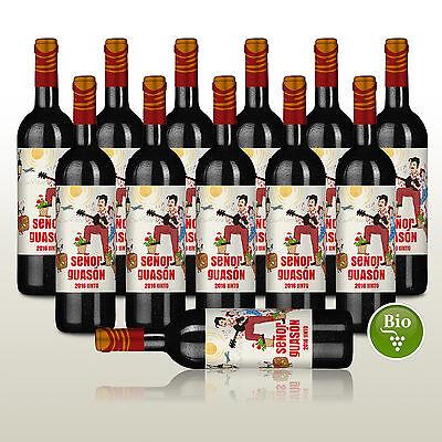 12 Fl. Senor Guason Tinto 2016, Bio-Rotwein Spanien, Wein trocken, Monastrell