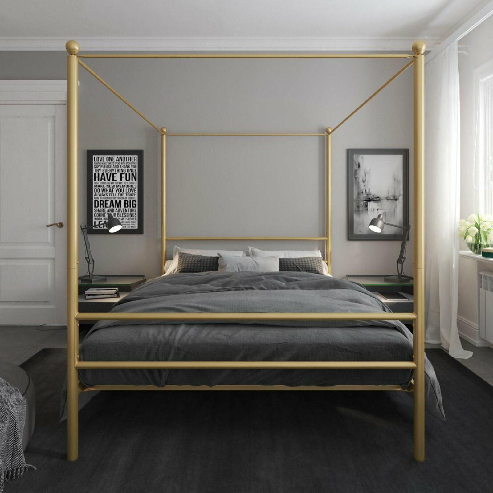 Metal Canopy Bed Bedroom Furniture Gold Beds & Bed Frame