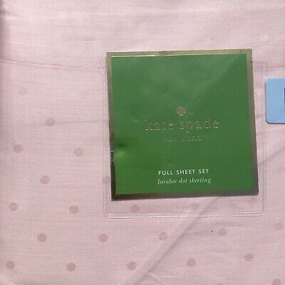 New Kate Spade Full 4 Pc Sheet Set Larabee Dot Light Pink Blush 100% Cotton - Light Sets 100 Pink Lights