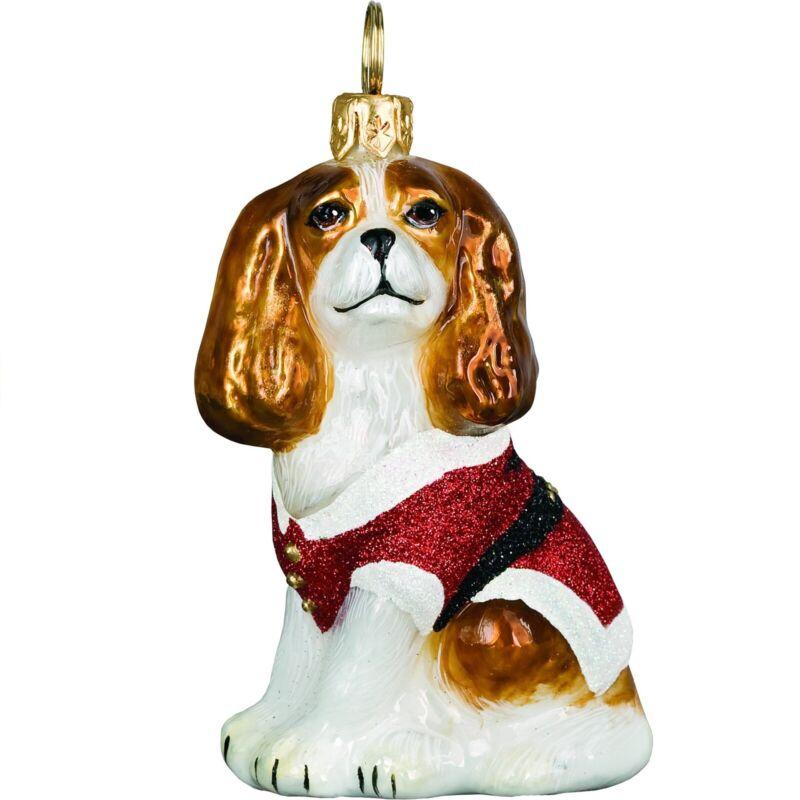 Cavalier King Charles Spaniel Santa Paws Polish Glass Christmas Ornament