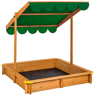 Sandbox with adjustable roof sun protection outdoor games wooden sand pit green