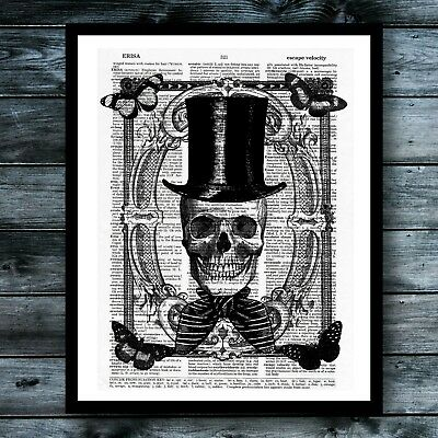 Halloween Vintage Dictionary Art Print Skull Steampunk Wall Decor Modern Poster](Halloween Wall Decor)