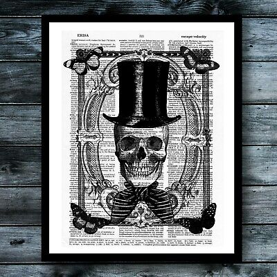 Halloween Vintage Dictionary Art Print Skull Steampunk Wall Decor Modern Poster