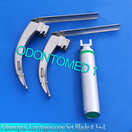 MCCOY FLEXI-TIP FIBEROPTIC LED Laryngoscope SET- BLADE # 3 &4,Medium Han Fl-002