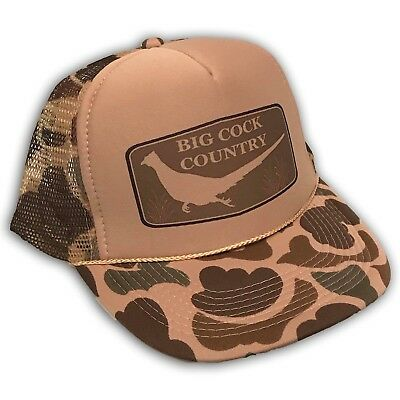 Big Cock Country Trucker Hat Pheasant Hunting Vintage Style Camo Snapback Cap