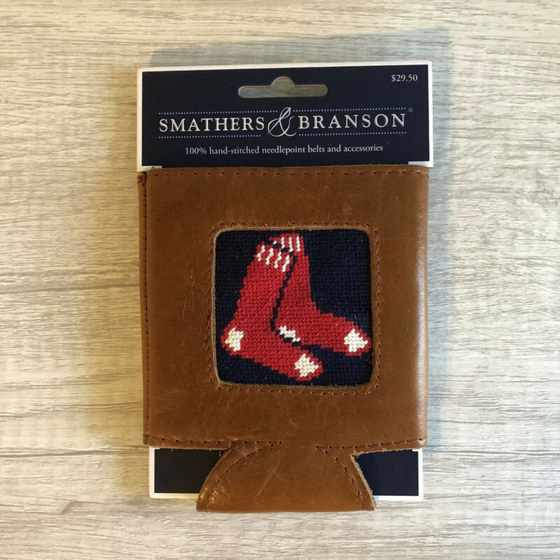 Brand New Smathers & Branson Red Sox Needlepoint Leather Can Cooler Beer Koozie