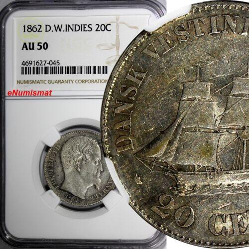 Danish West Indies Frederik VII (1848-1863) Silver 1862 20 Cents NGC AU50 KM#67