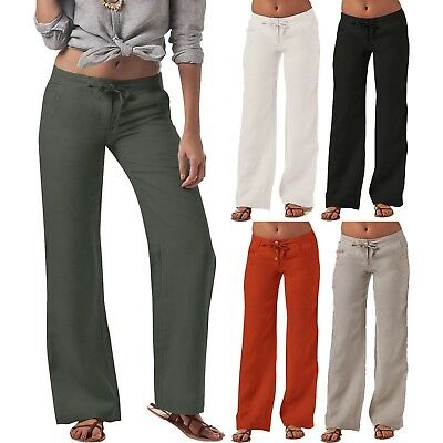 US Womens Cotton Linen Wide Leg High Elastic Waist Summer Pants Loose Trousers