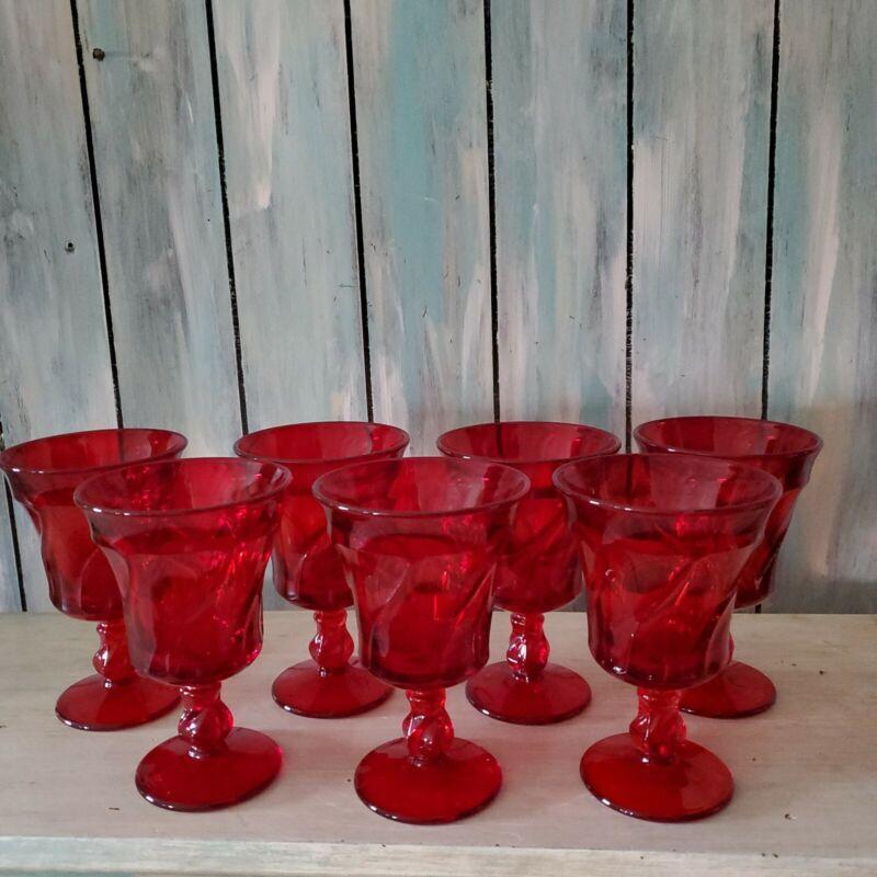 Set 7 Fostoria Jamestown Ruby Red Water Glasses Goblets Stemware EUC