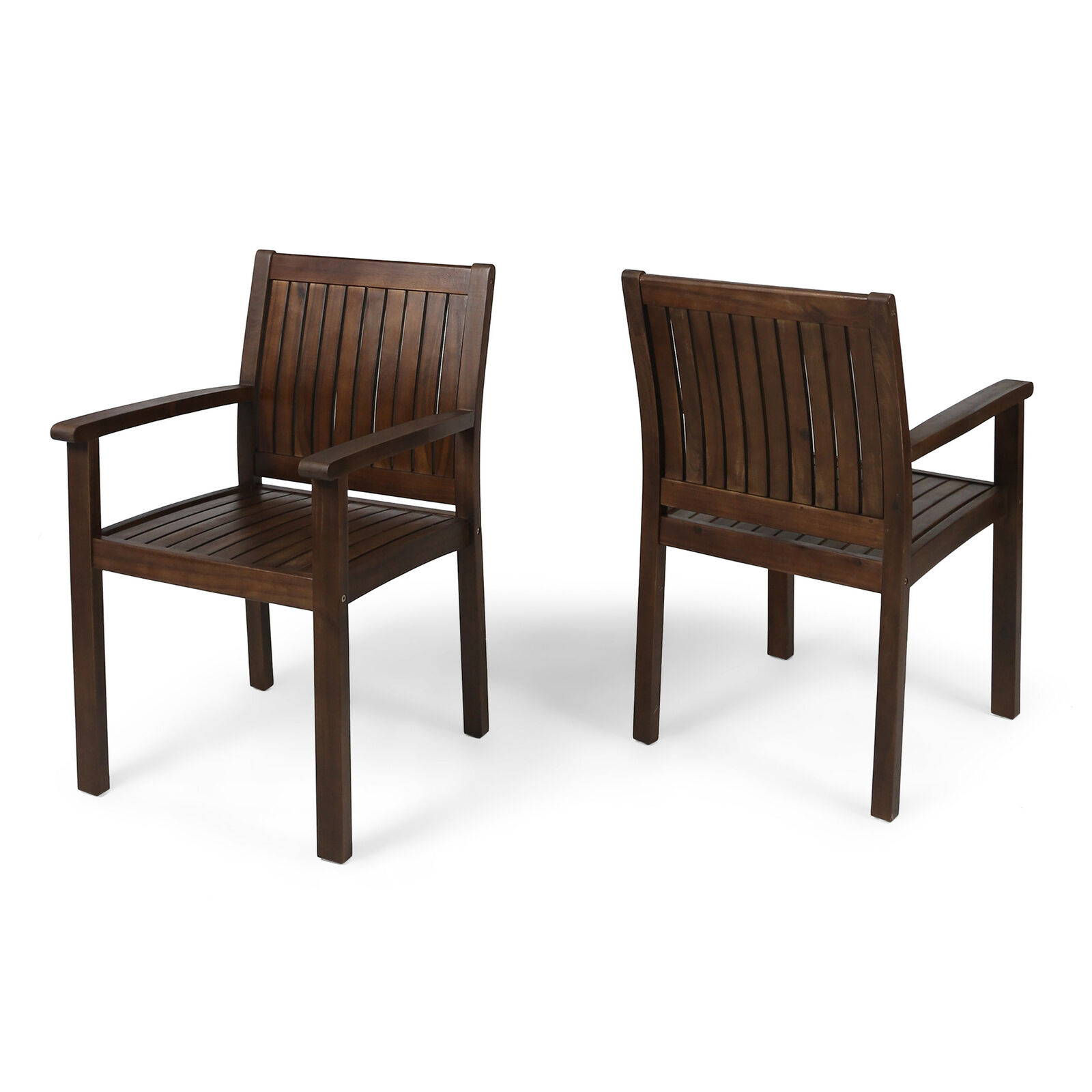 Kylan Outdoor Acacia Wood Dining Chairs (Set of 2) Home & Garden