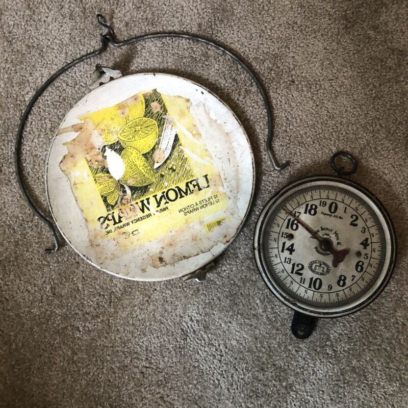 Vintage 20 lb. Metal PENN SCALE MFG CO. Hanging Scale With Tray