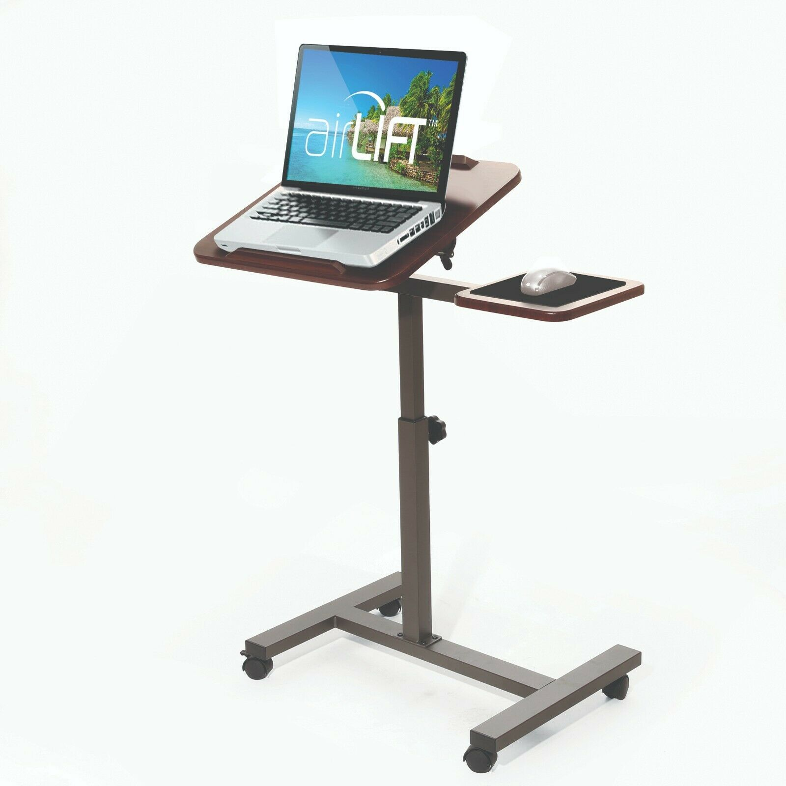 SEVILLE CLASSICS AIRLIFT TILTING SIT-STAND COMPUTER DESK CART WITH SIDE TABLE Furniture