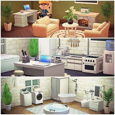 New Horizons White Bathroom, Living Room, And Kitchen Furniture Set Bundle -