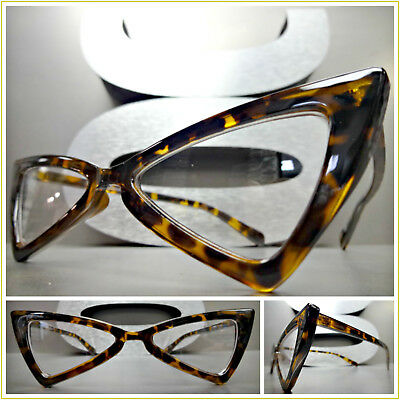 CLASSIC VINTAGE Funky 60's RETRO CAT EYE Style EYE GLASSES Unique Tortoise Frame