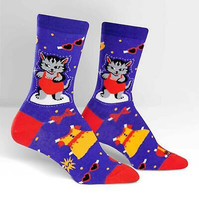 Slash Dress Up (Dress Up Meow Crew Socks New Women's Size 9-11 Sock it To Me Cat Cut Out)