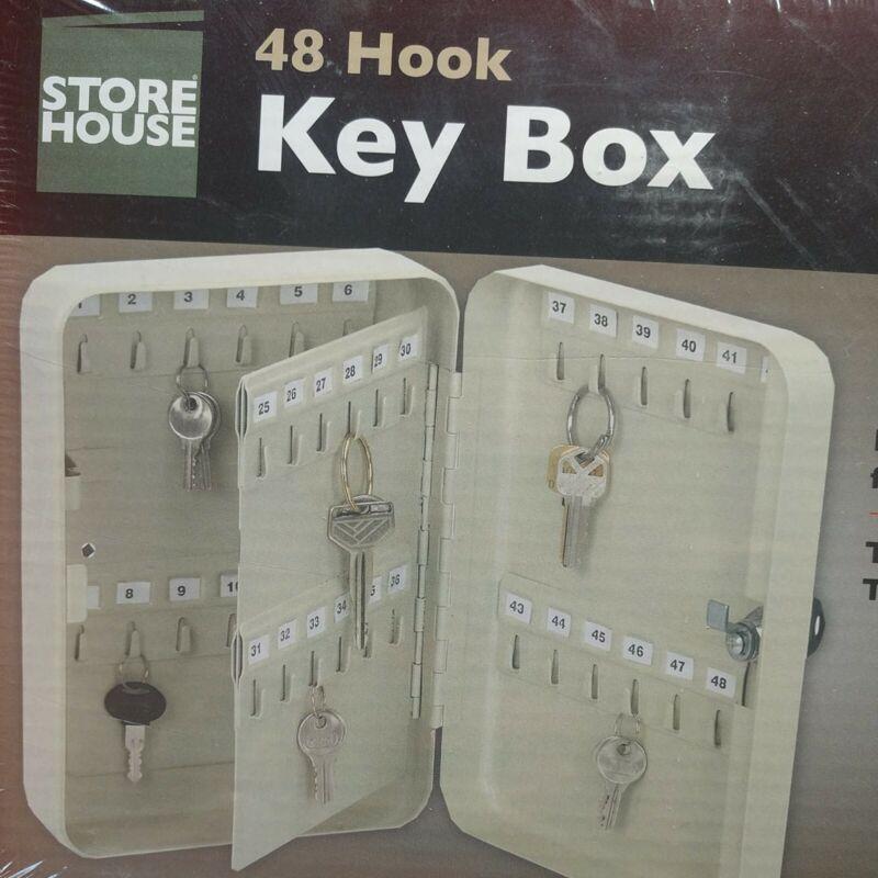 NEW 48 HOOK STEEL KEY BOX STORAGE W/ LOCK WALL MOUNTABLE
