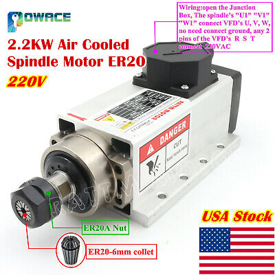 In Usa2.2kw 220v Air Cooled Spindle Motor Er20 400hz For Cnc Engraving Machine