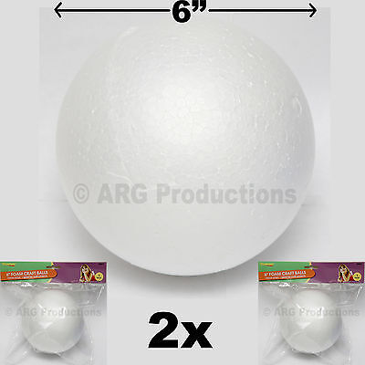 2 PIECES 6 INCHES FOAM CRAFT BALLS - GREAT FOR CRAFT SCHOOL PROJECTS STYROFOAM - 6 Inch Styrofoam Balls