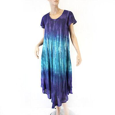 Advance Apparels Sundress Purple Floral Tie Dye Dress O/S fits XL/1X ()
