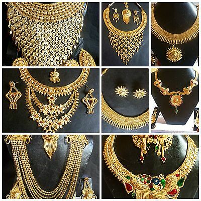 Indian Gold Jewelry - Indian 22K Gold Plated Wedding Necklace Earrings Jewelry Set Variations 8'' Set