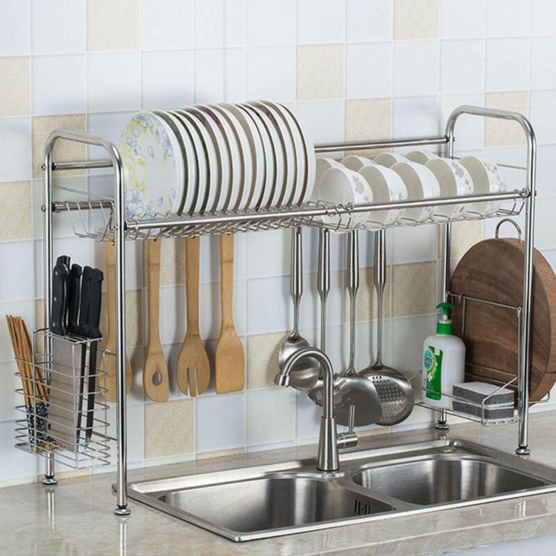 """36"""" Over The Sink Dish Drying Rack Stainless Steel Kitchen C"""
