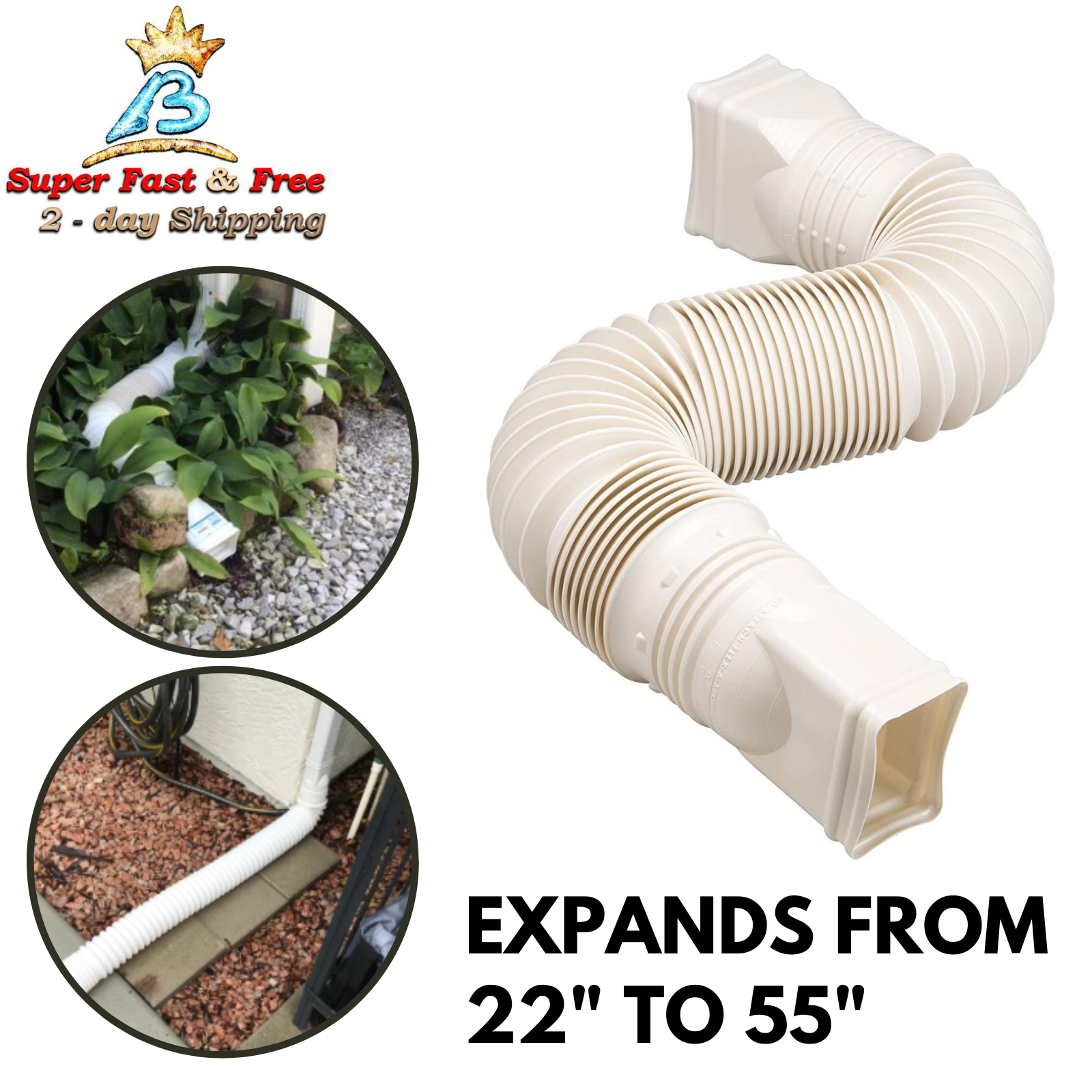 "Expandable 25-55"" Flex Drain Downspout Extension Rain Pipe S"
