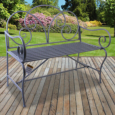 Metal Garden Bench Vintage Rustic Grey Ornate Decorative 2/3 Seater Shabby Chic