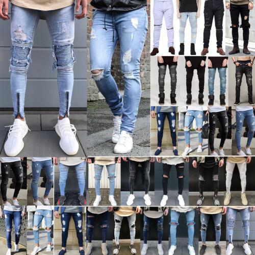 Men's Ripped Jeans Super Skinny Slim Fit Denim Pants Destroy