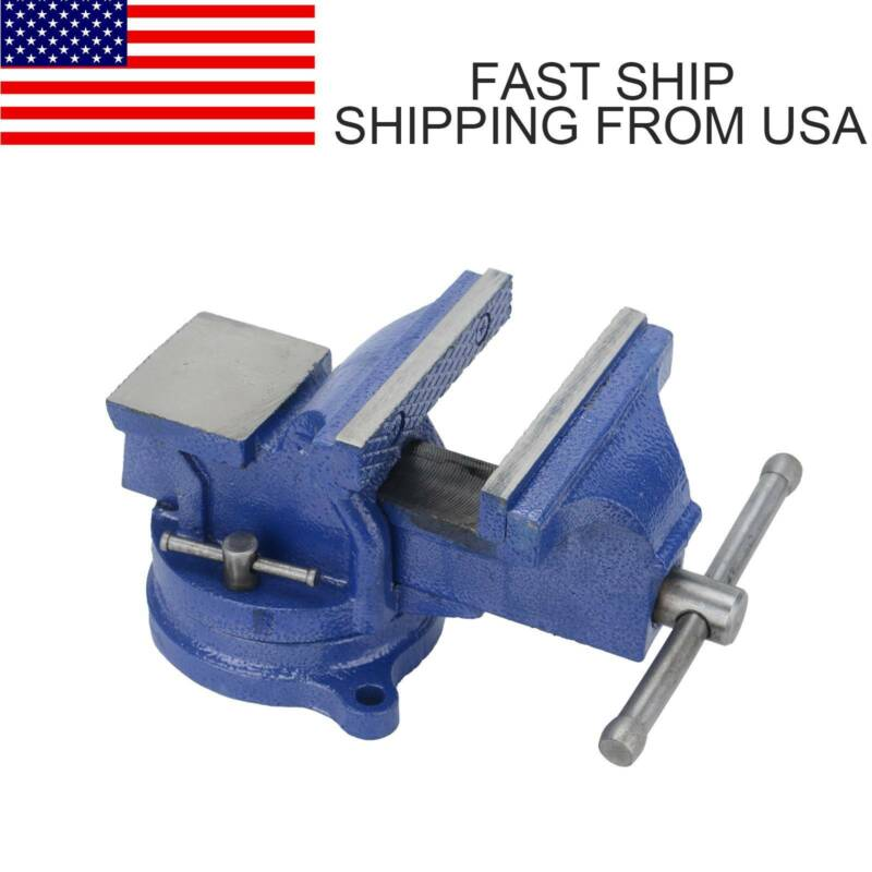 "5"" Heavy Duty Steel Bench Vise with Anvil Swivel Table Top C"