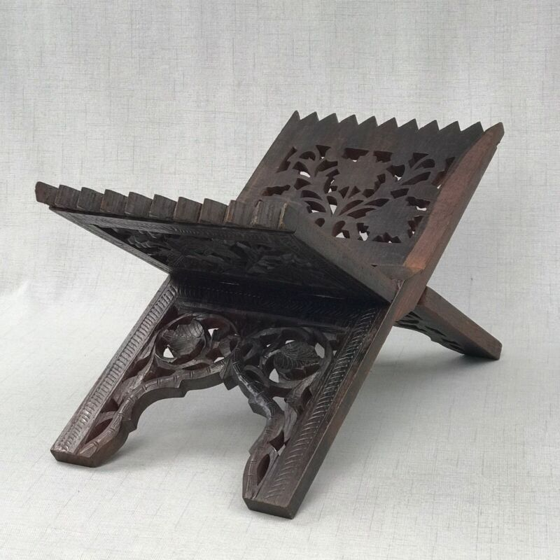 Wooden Hand Carved Rehal Holy Book Stand Floral Carved Wood Book Rest