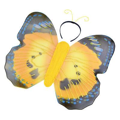 Schmetterling Kostüm Set Satz Flügel & Antenne auf Stirnband Gelb - Kostüm Antenne