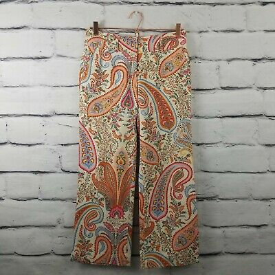 J. Crew Womens Size 2 Cropped Pants Low Fit Paisley Wide Leg Boho Hemmed (14)