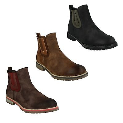 (LADIES DOWN TO EARTH F50566 CHELSEA PULL ON WINTER CASUAL ANKLE BOOTS SHOES )