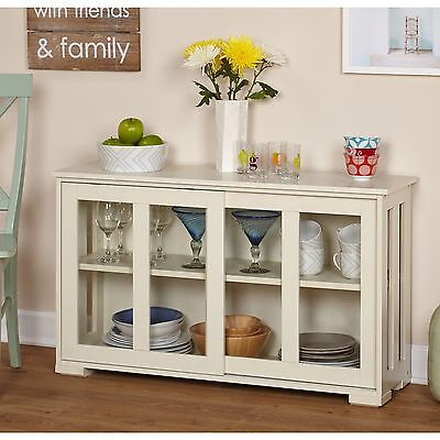 Glass Front White Cabinet China Hutch Buffet Display Storage Shelves Kitchen New (Buffet Shelves Cabinets)