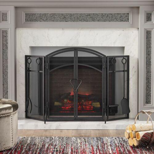 Rue Modern Iron Folding Fireplace Screen with Door and Tools Fireplace Screens & Doors