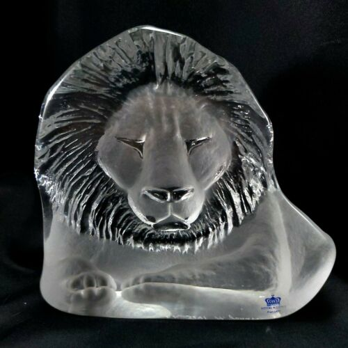 "Mats Jonasson Lion Sculpture 5.5"" Crystal Paperweight Royal Krona 3141"
