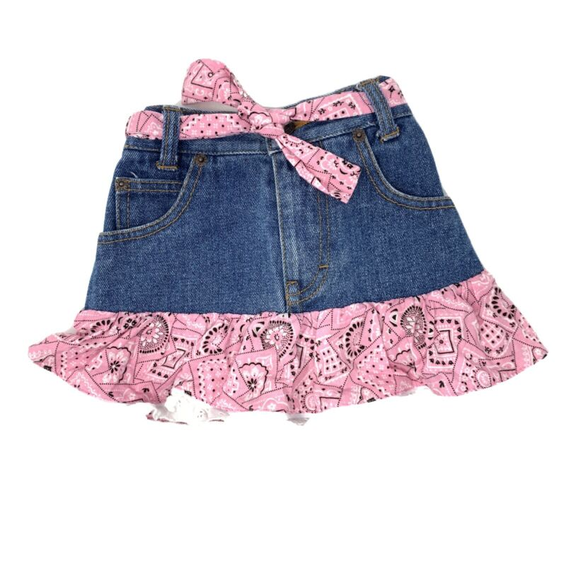 Kiddie Korral Pink Bandana Denim Skirt Toddler Size 2 Western Cowgirl EUC