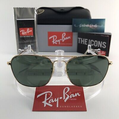 Ray-Ban RB3136 001 Caravan Classic Sunglasses Gold Frame Green G-15 Lens (Ray-ban Rb3136 Caravan Sunglasses)